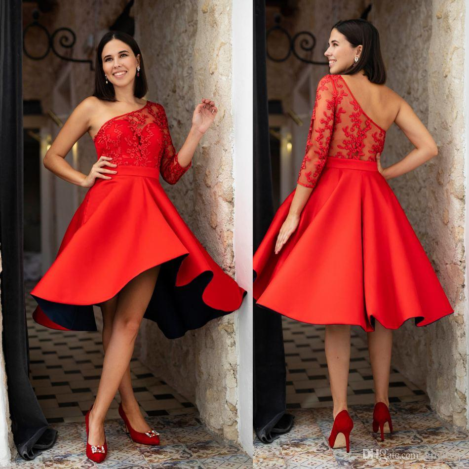 78bee20e8ba Red Bridesmaid Dresses One Shoulder Lace 3 4 Long Sleeve Tea Length Wedding  Guests Dress Plus Size Prom Party Gowns Canada 2019 From Greatvip
