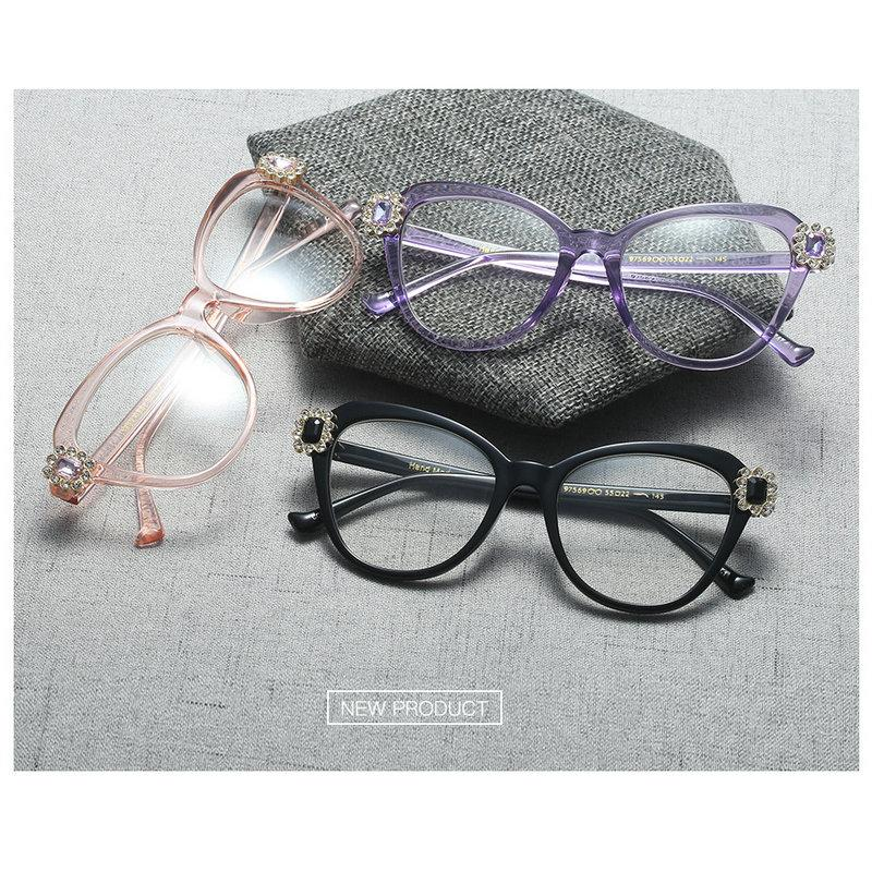 d06014b865 Fashion Cat Eye Crystal Drill Glasses Frame 2018 New Glasses Ladies ...
