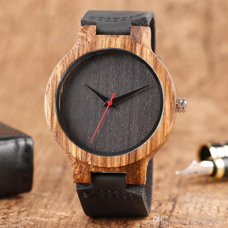 928a5cd5bd8 Compre Minimalista Preto   Café   Verde Dial Relógio De Madeira De Bambu  Dos Homens Exclusivos 100% Natural Artesanal De Couro Genuíno Masculino  Esportes ...