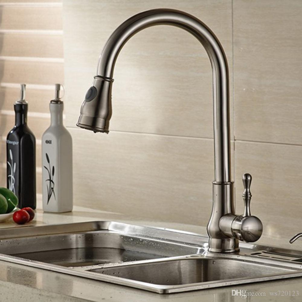 2018 Modern Brushed Nickel Deck Mounted Pull Out Kitchen Sink ...
