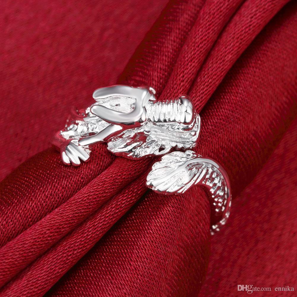 Toptan 925 Gümüş Ejderha Parmak Yüzük Takı Lider Lady Moda Ücretsiz Boyut Yüzük Yeni Moda Takı Ücretsiz Kargo R054
