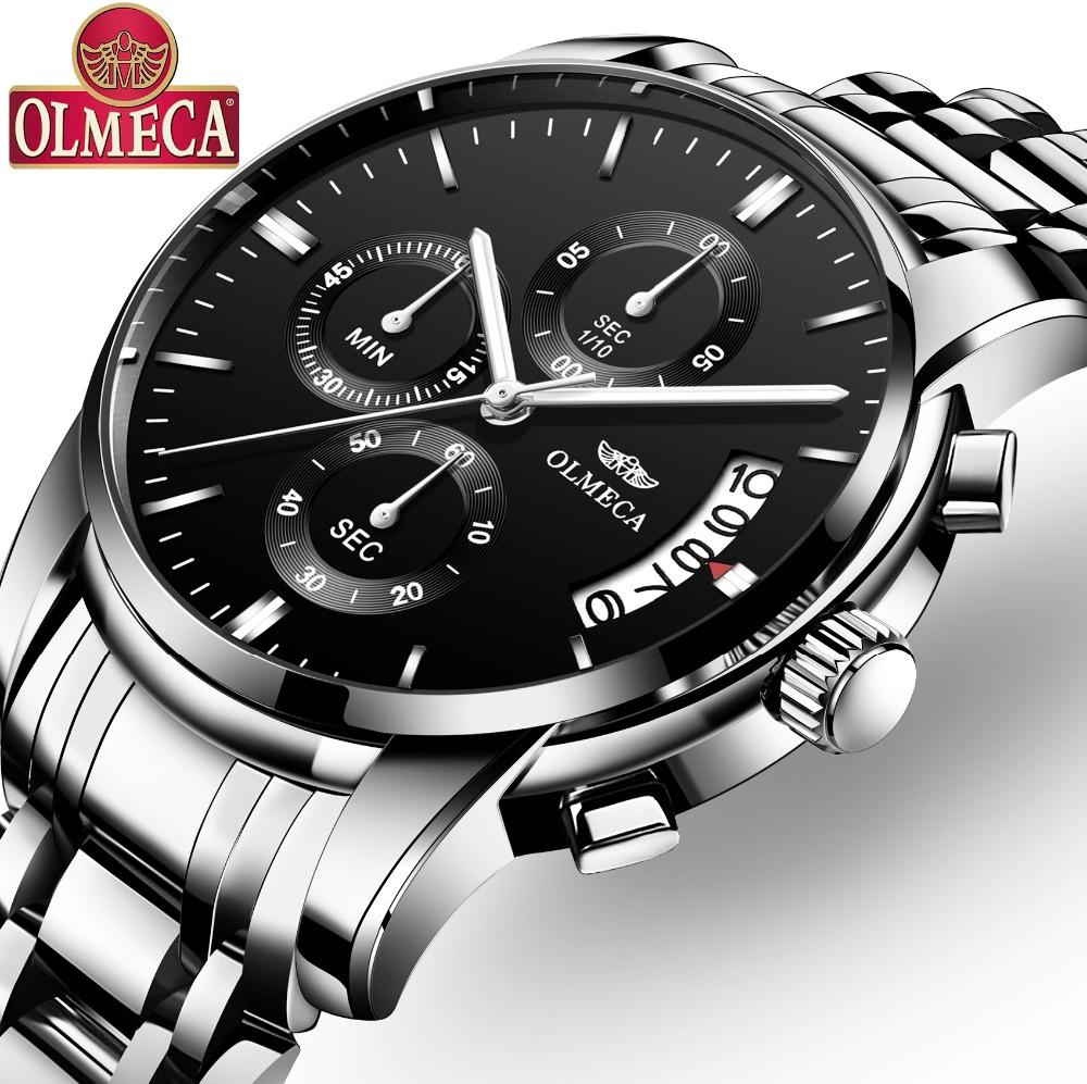 OLMECA Classic Watch Relogio Masculino Waterproof Watches Fashion Chronograph Wrist Watch Stainless Steel Clock Black