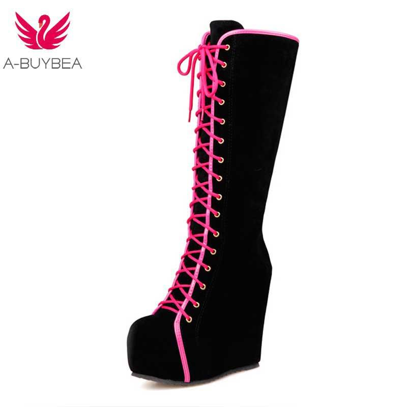 5d0278f7d27 Women Ladies Casual Wedge Super High Heels Platform Round Toe PU Vegan  Leather Knee Boots Shoes Female New Lace up Footwear Boot