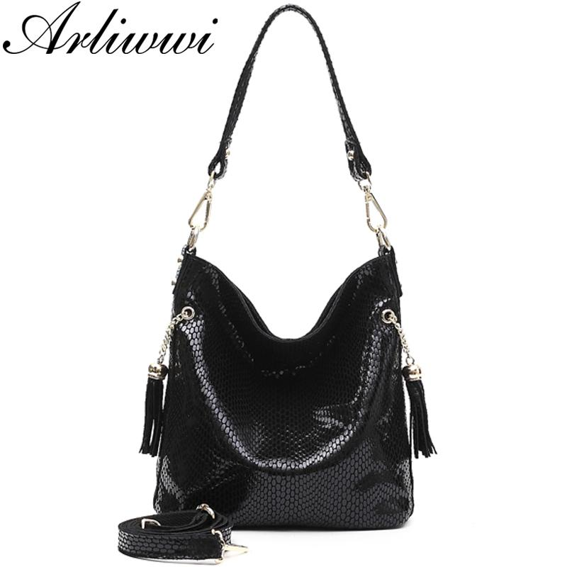 2019 Fashion Arliwwi Brand Designer New Real Leather Shiny Snake Pattern  Embossed Female Shoulder Bags High Quality Women Everyday Handbags Italian  Leather ... c974344ced