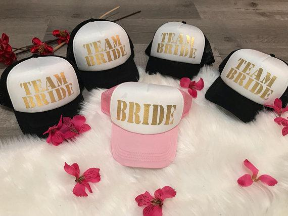 c60ce56ab26a2 Personalized GLITTER Team Bride Wedding Bridesmaid Bachelorette Mesh  Trucker Snapback Trucker Hats Caps Bridal Party Favors Personalized Wedding  Favor Red ...