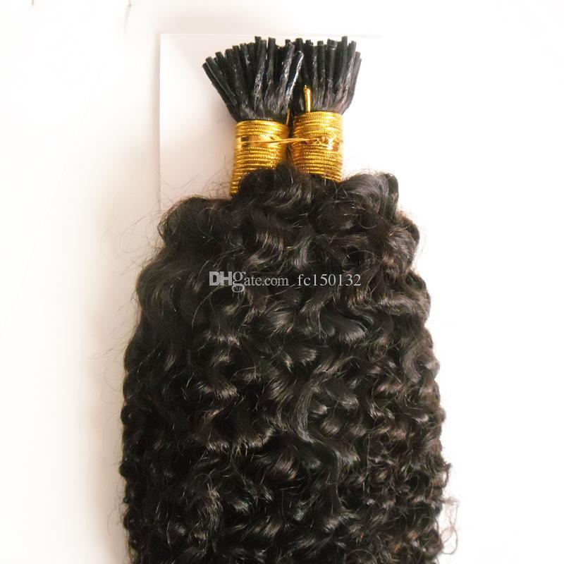 Afro Kinky Human Cabelo Prego I Dica Extensões de Cabelo 100g / Castanhas Pré Cabelo Pré-ligado em Cápsulas de Keratin Cor Natural 1G / Strand