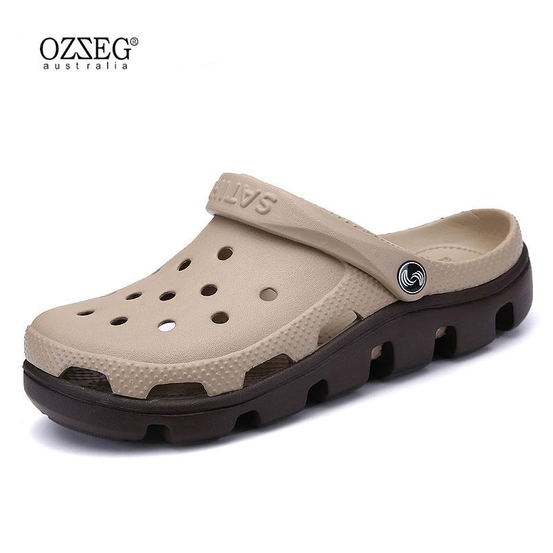 ac09d00db OZZEG New Summer Sandals Men Casual Shoes Mules Clogs Breathable Beach  Slippers Male Water Hollow Jelly Chaussure Homme Platform Sandals Wedges  Shoes From ...