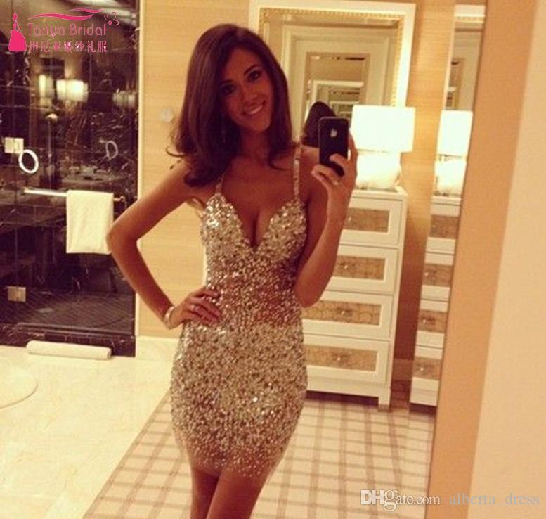 gold Tight Short Mini Sequined Cocktail Dresses Sexy Luxury Cheap Homecoming Dresses Party Gowns elegant Women Club Dresses