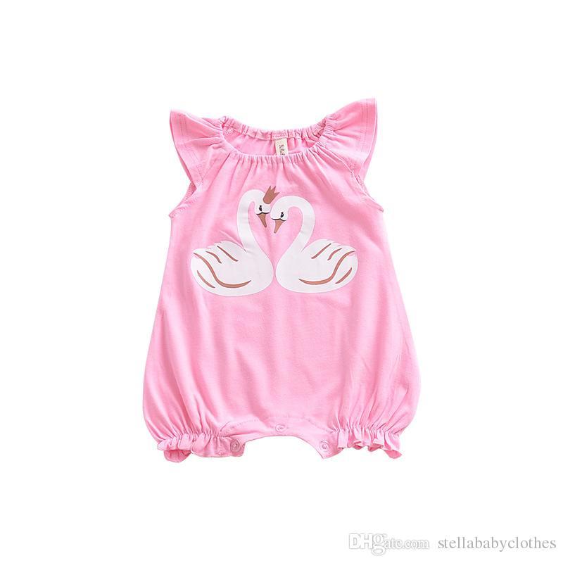 Bebê da criança Crianças Roupa Dos Miúdos Dos Desenhos Animados Swan Impresso Romper Macacão Rosa Sem Mangas Romper Para Meninas Bonitos