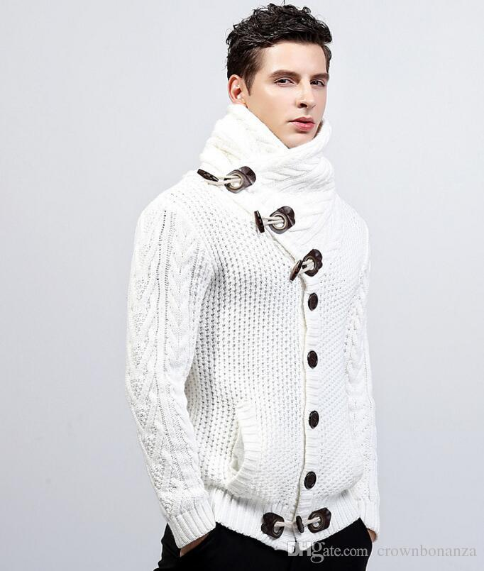 3278867f701a 2019 Mens Cardigan Sweater Coat Autumn Winter Casual Turtleneck Sweatercoat  For Men Loose Warm Knitting Clothes Sweater Coats From Crownbonanza