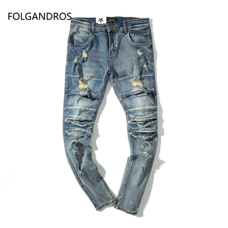 d052d207d65 2019 Hip Hop Distressed Hole Slim Skinny Jeans Men 2018 Fashion Ruched Denim  Pant Moustache Effect Full Length Trousers J0246 From Burtom