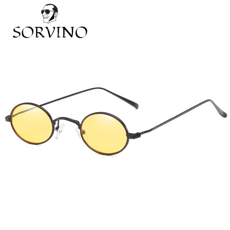 523fa552af Compre Sorrino 2018 Gafas De Sol Ovaladas Pequeñas 90S Hombres Mujeres  Diseñador De La Marca Rojo Amarillo Lente Transparente Gafas De Sol De  Época Retro ...
