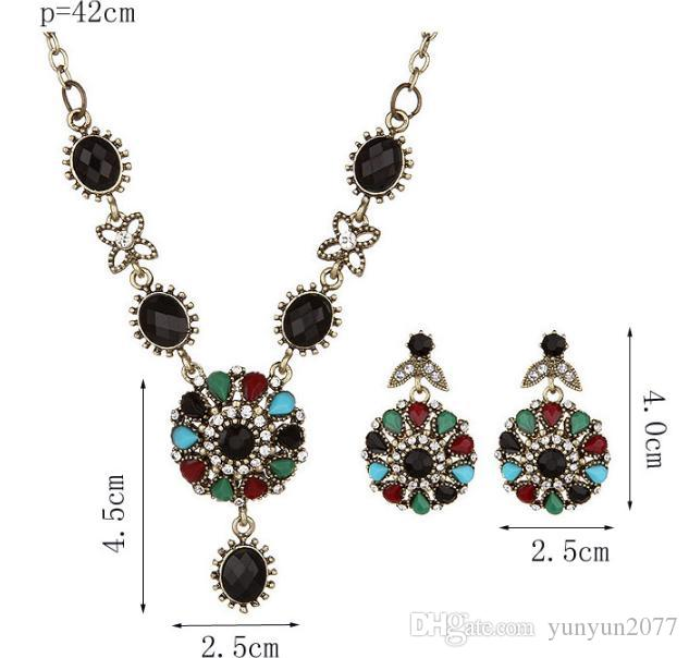 Retro Vintage Geometric Circle Flower Pendant Charm Rhinestones Chains Necklaces Drop Dangle Earring Fashion Accessories Party Jewelry Sets