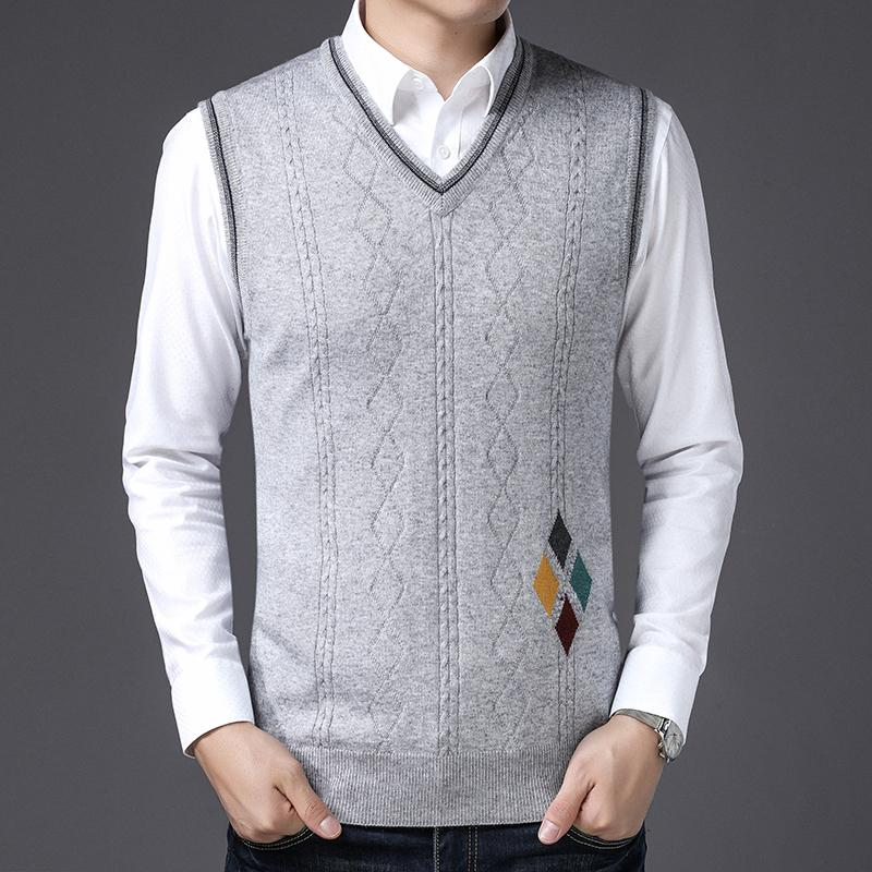 2019 Mens New Fashion Design Plaid Cashmere Sweater Vest Male V Neck