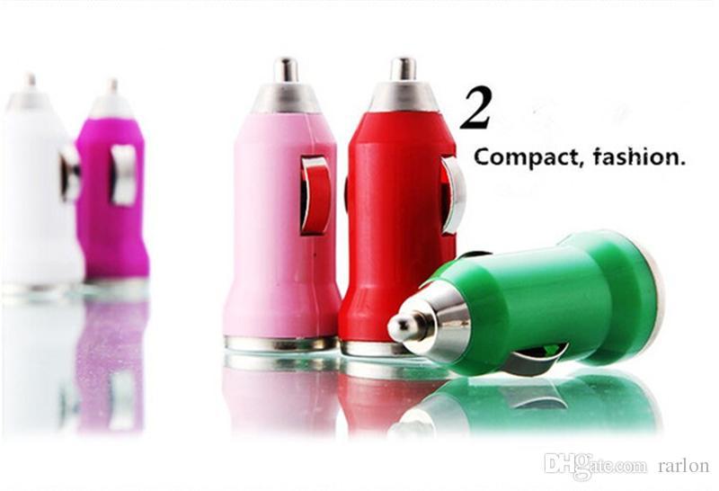 Para el cargador colorido del coche del USB de IphoneX Bullet colorido Cargador portátil del mini del cargador del coche de la carga universal para Samsung S8 S9