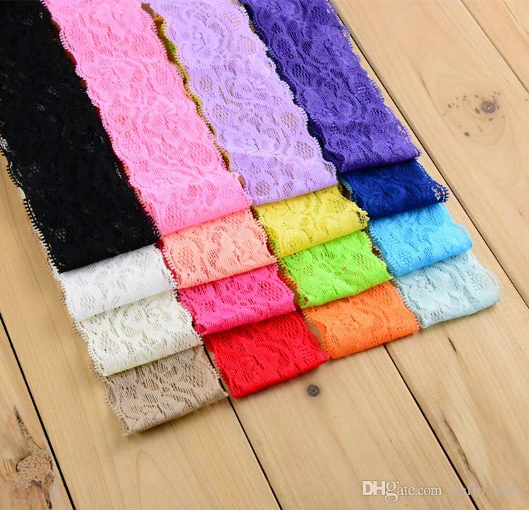 """New Arrivel 1.18"""" Wide Kids Elastic Lace Headband For Baby Girls Head Bows DIY Hair Band Accessories"""