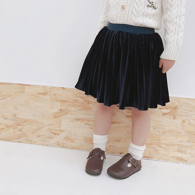 b604b4493 2018 Otoño Moda Bebé Niñas Faldas de Terciopelo Falda Plisada para Niña  Princesa Tutu Pettiskirt Tul Niños Ropa Niños Ropa