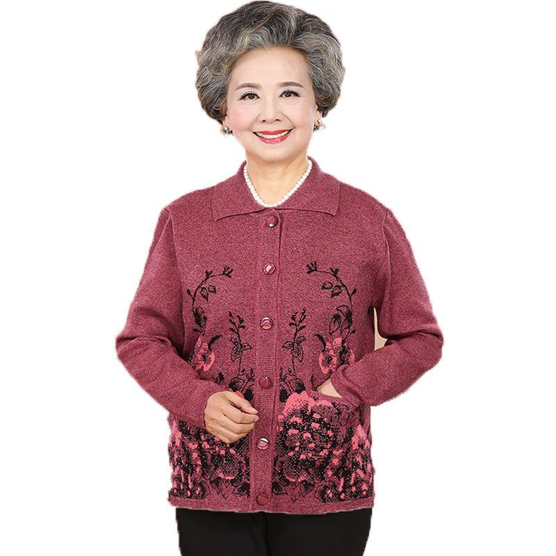 449800327c 2019 Elderly Women Cardigans Sweaters Flower Sequined Knitted Top Grandma  Mother Cashmere Woollen Blends Cardigan Sweater Knitwear XL From  Griseldala, ...