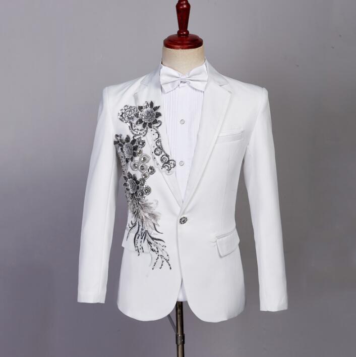 89d9372f68 Compre Blazer Branco Homens Formais Vestido Mais Recente Calça Casaco  Projetos Cantor Terno De Lantejoulas Moda Masculina Masculino Calças Ternos  Dos Homens ...