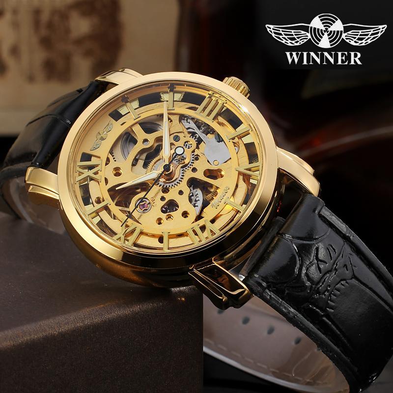 abe36cc57538 Compre GANADOR Hombres Ahuecan Oro Negro Relojes Mecánicos Esqueleto De  Cuero Masculino Steampunk Reloj Automático Relogio Masculino A  31.96 Del  Harrieta ...