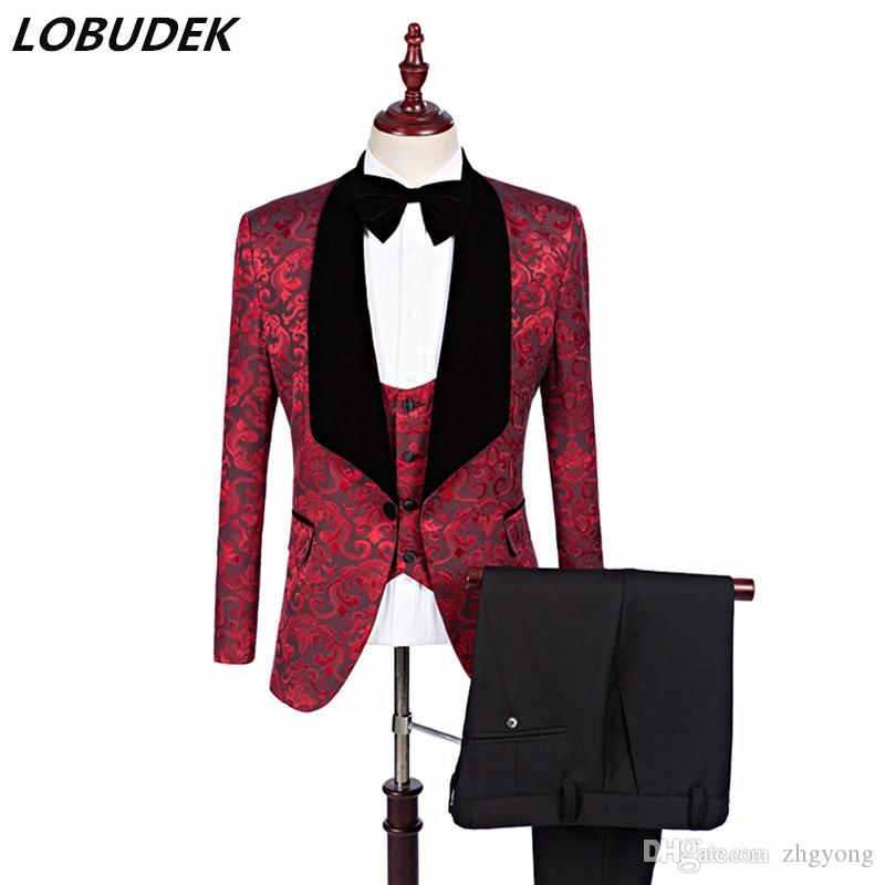fa8589fc1ff Jacket+Vest+Pants Business Casual Men s Suits Printing Fashion Slim ...