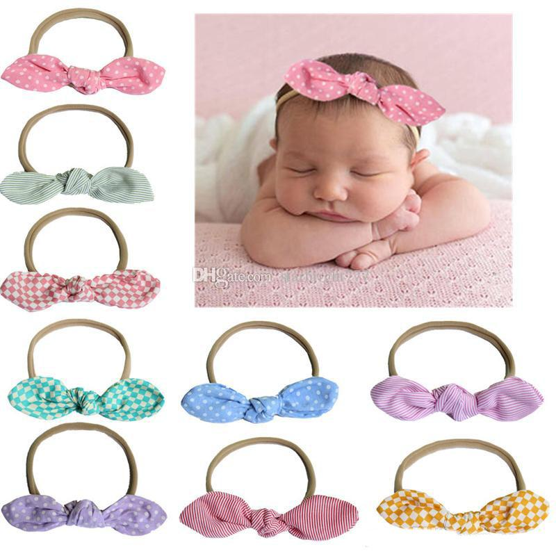 baby headbands Dot turbon knot bunny head bands nylon elastic hairbands children kids Hair accessories headwear party wear