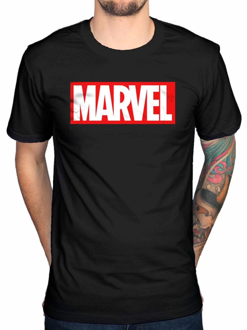 Official Marvel Comics Box Logo T Shirt Hulk Thor Captain America