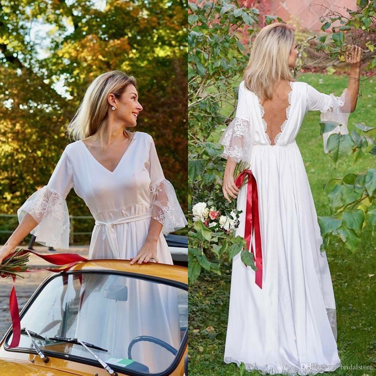 West Vintage Boho Country Wedding Dresses With Sleeve V Neck Floor Length Chiffon Cheap Bohemian Bridal Gowns 2018 Low Back Garden Summer
