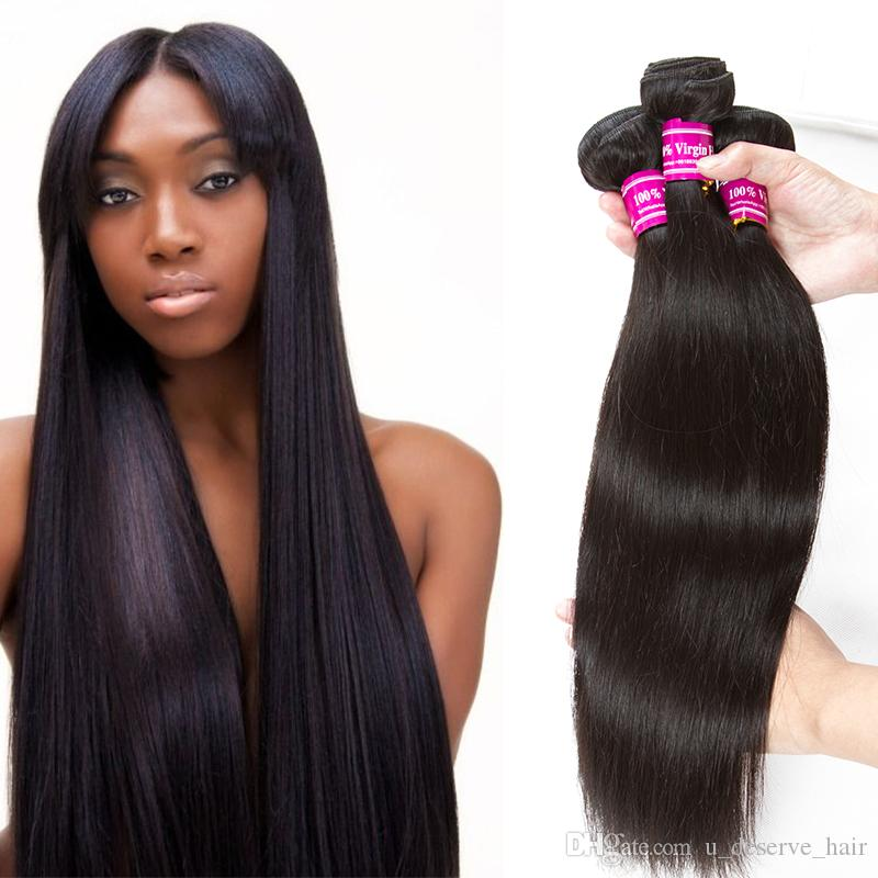 Brazilian Virgin Hair Extensions Straight 28 30 32 34 36 38 40 Inch