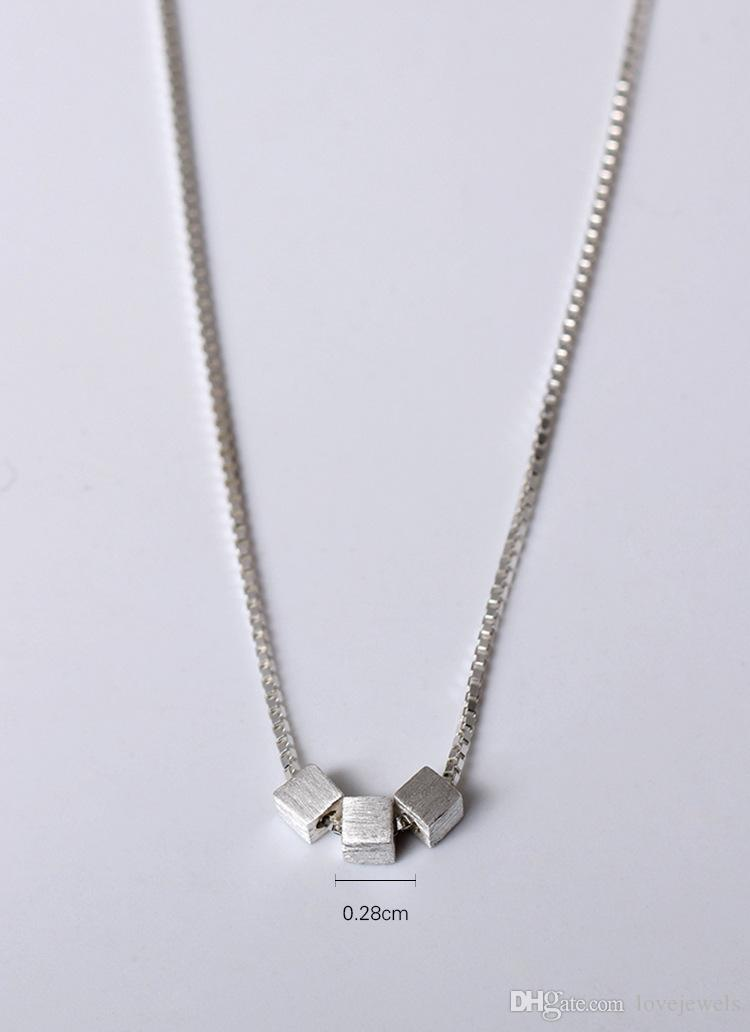 Charms 925 sterling silver Geometric square block Pendant Necklace female fashion sets jewelry gift women chain wholesale china direct