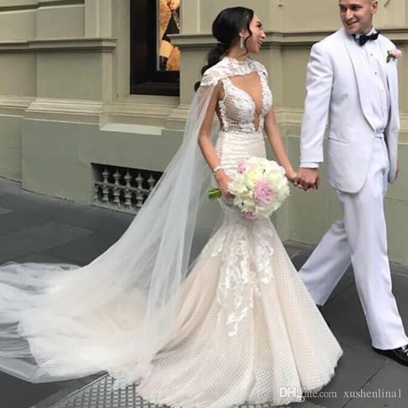 b0504e802a Glamorous SpaghettiStraps Wedding Dress 2019 Lace Mermaid