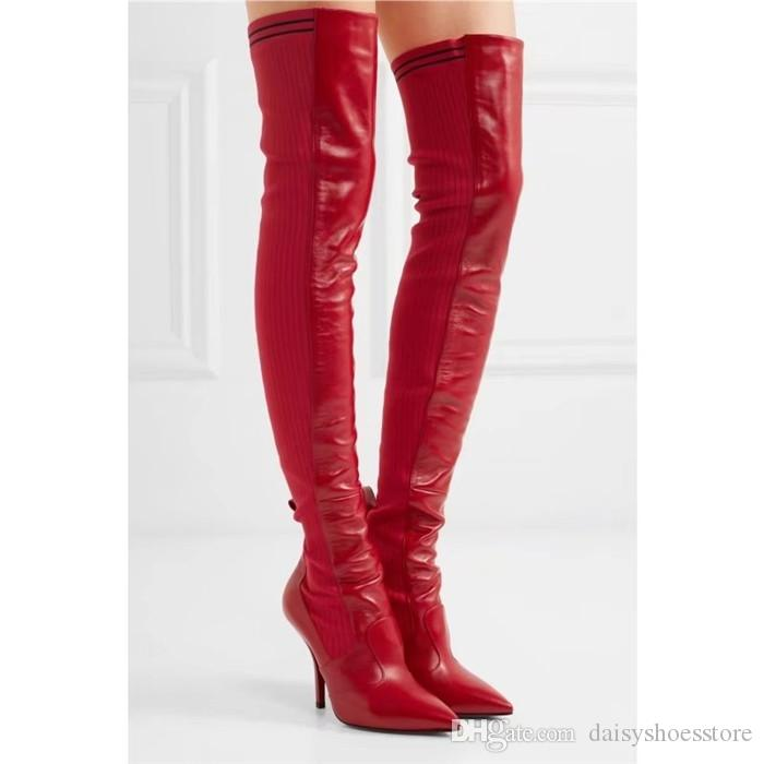 c0366f612eb Autumn Winter Ankle  Thigh High Boots Women Patchwork Sexy Pointed Toe  Shoes Stiletto Booties Knitted Stretchy Leather Black Red Sock Boots  Cowgirl Boots ...