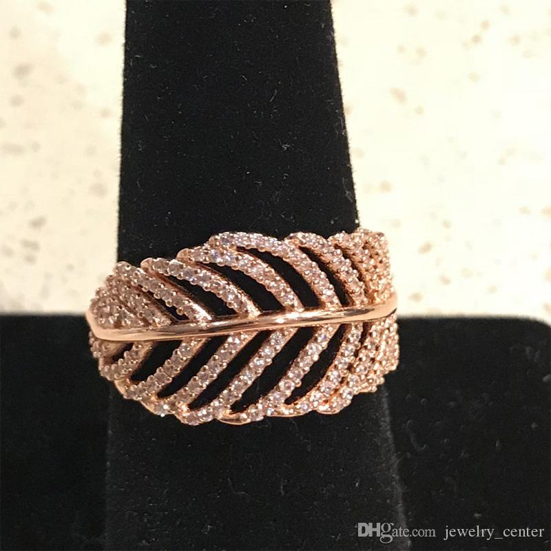 925 Sterling Silver Feather Rings with Clear CZ Diamond fit Pandora style Jewelry for Women 18K Rose Gold Crystal Wedding Ring