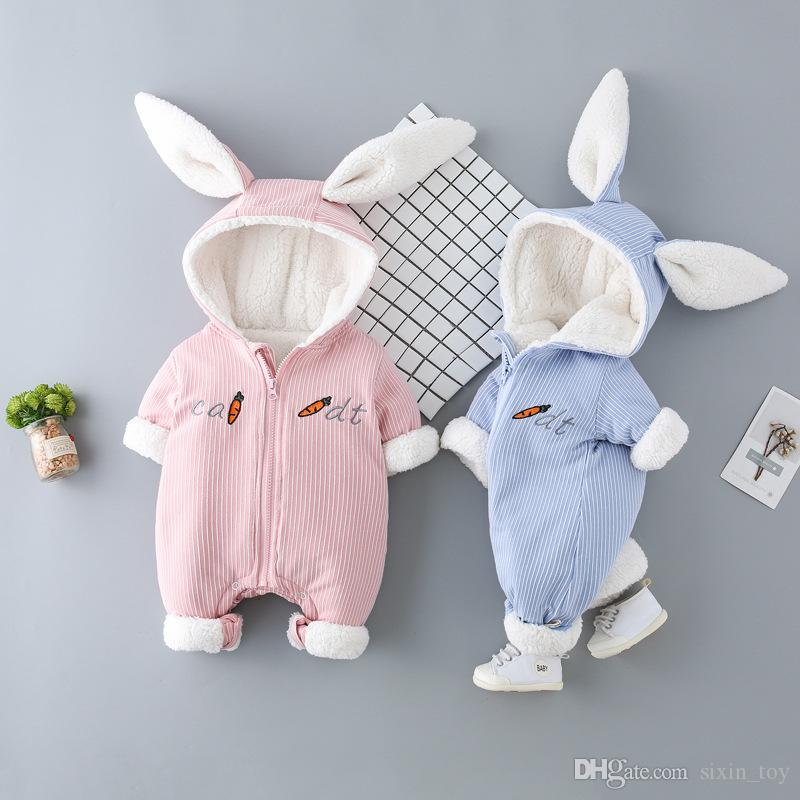 c86e755e47c 2019 Winter Cute Rabbit Ear Hooded Baby Rompers For Babies Boys Girls Kids Clothes  Newborn Bunny Ear Jumpsuit Infant Costume Baby Outfit From Sixin toy