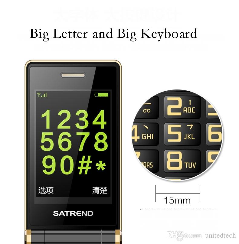 Luxury Flip 3.0 inch Double touch Screen Dual SIM Card MP3 FM Gold cellphone Big keyboard letters loudly speaker mobile cell phone
