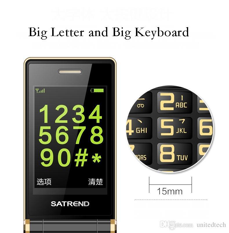 LUXURY Flip 3.0 pollici doppio touch screen telefoni cellulari cellulari Dual SIM card MP3 fm Gold Cellphones Big Keyboard Letters Loudly Speaker Mobile Cellphone