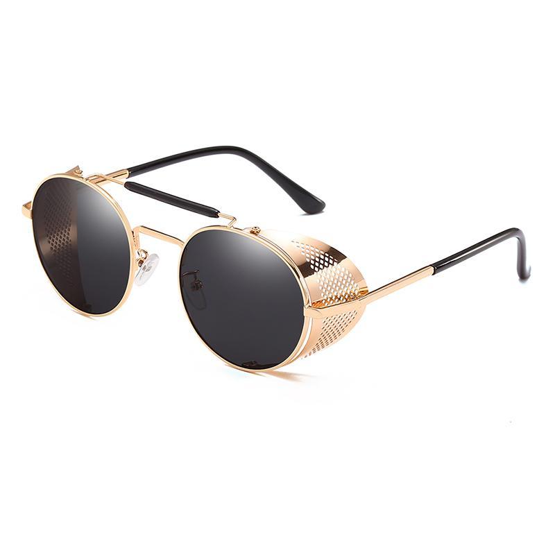 63bb2125da Compre Nuevas Gafas De Sol Redondas Polarizadas Hombres Steampunk Escudos  De Metal Gafas De Sol Oculos De Sol Protección UV Espejos De Conducción  Gafas ...