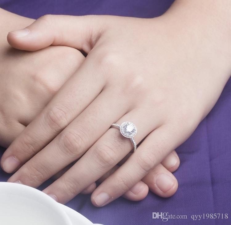 2017 새로운 T 브랜드 여성을위한 3CT SONA 합성 다이아몬드 반지 925 스털링 실버 약혼 쥬얼리 플래티넘 도금 결혼 반지