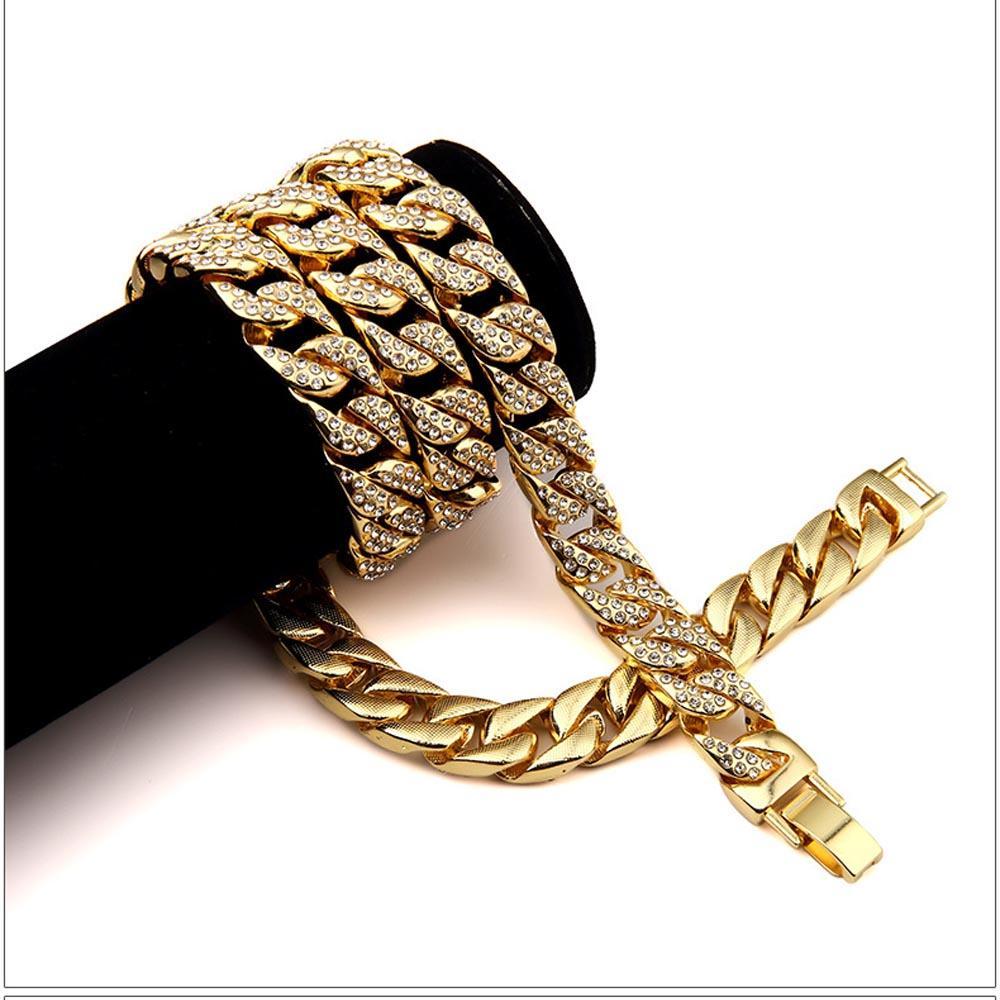 الهيب هوب مثلج خارج مجموعات المجوهرات 24 كيلو مطلية بالذهب الكامل الماس قلادة سوار 2 قطع مجموعة الرجال ميامي الكوبي رابط سلسلة بلينغ بلينغ التبعي