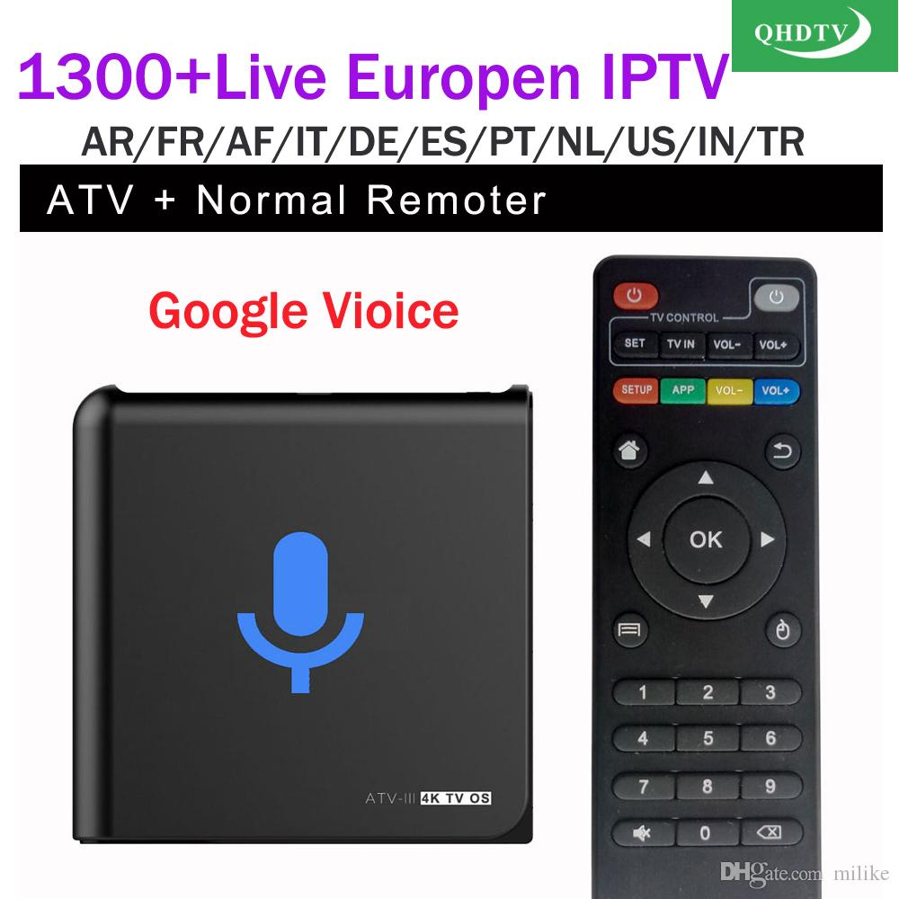 ATM-M google voice tv box S905X with QHDTV 1year 1300+ Arabic French IPTV Account subscription Spain African Android APK QHDTV VOD iptv code