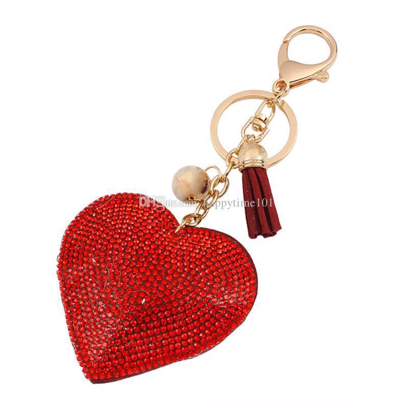 fashion cute peach heart imitation diamond key chain red tassel penden black vintage girls bag pendant creative key chains for women jewelry