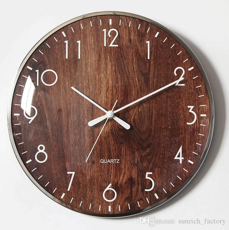 13 Inch Nordic Wood Retro Style Non Ticking Silent Wooden Wall Clock
