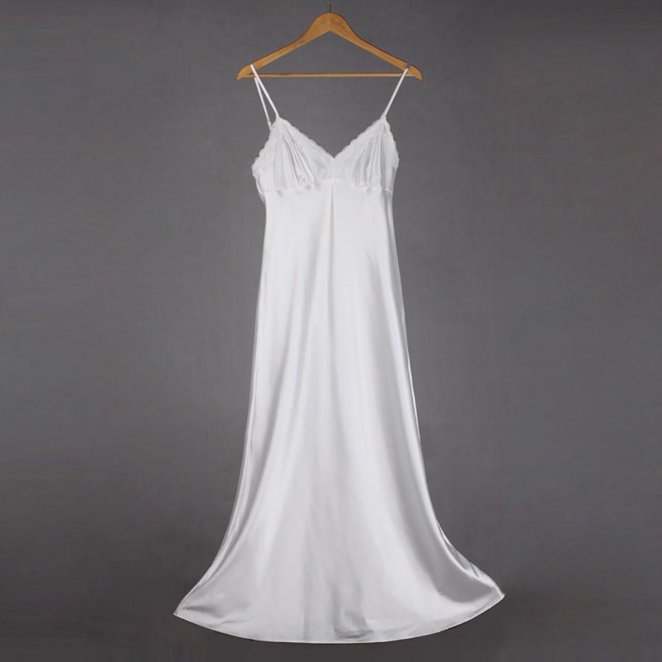 4e79c09990 2019 Long Nightgowns V Neck Sleepdress Comfort Satin Nightwear Women  Spaghetti Strap Nightdress Lace Sleepwear For Female/Lady SLA501 From  Vanilla15, ...