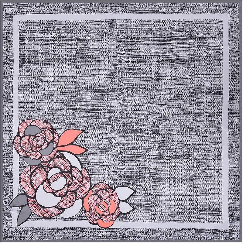 014fe53e36de Acheter Femmes Camélia Floral Impression Écharpe Marque De Luxe Cou Plain  Bandana Echarpe En Soie Dames Grand Twill Soie Foulards Carrés 130   130 ...
