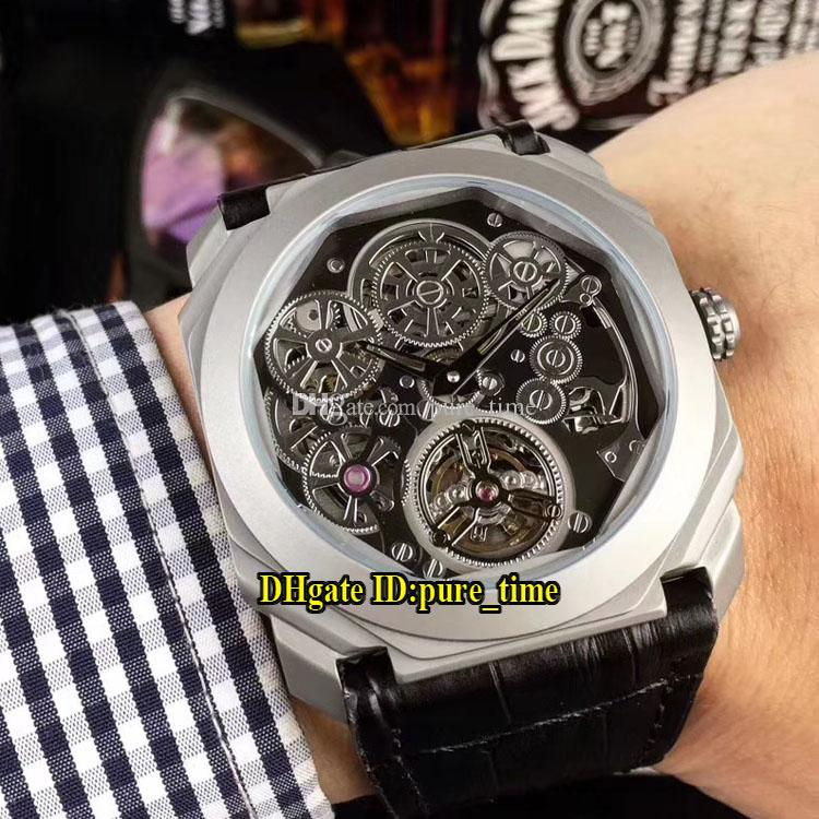 buy popular 88c77 8a0ac New OCTO Finissimo Tourbillon 102714BGO40TLXTSK Black Skeleton Dial  Automatic Mens Watch 80H/28800 Titanium Steel Case Leather Strap Wathes