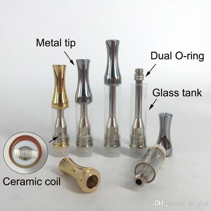 Картриджи для вапорайзеров AC1003 Керамический картридж для катушек 0,5 мл / 1,0 мл Pyrex Glass Испаритель с металлическим круглым наконечником Восковое масло Pen 510 Thread Atomizer