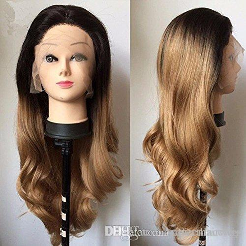 Long Middle Part Real Hair Ombre Blonde 1BT26#27# Color Synthetic Body Wavy Hair Heat Resistant Wig Lace Front Cosplay Hair