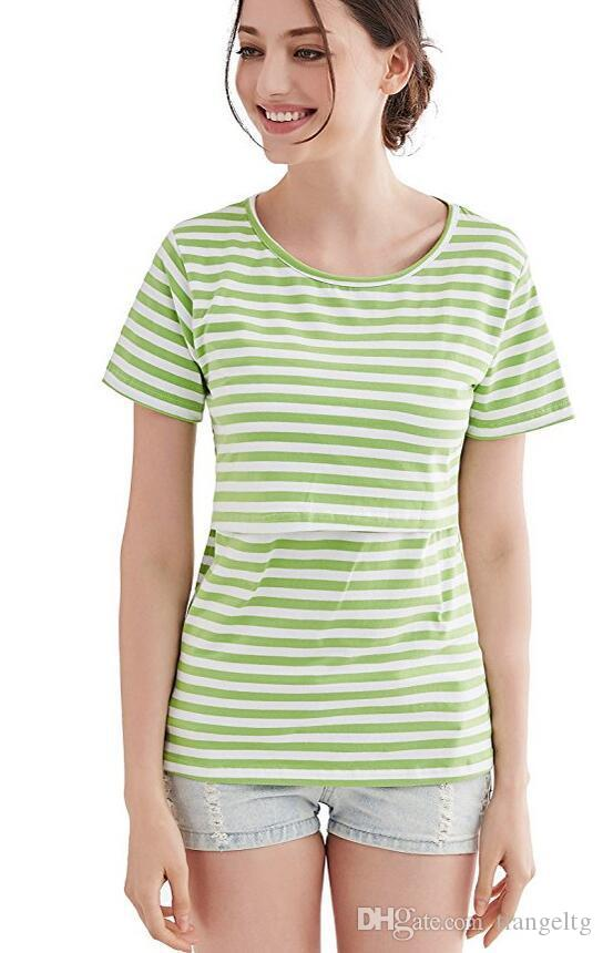 2018 Cotton Fashion Summer Monther Breastfeeding Nursing O-Neck Tops Mother Clothes Striped Print T-shirt Yellow Grey Green Blue
