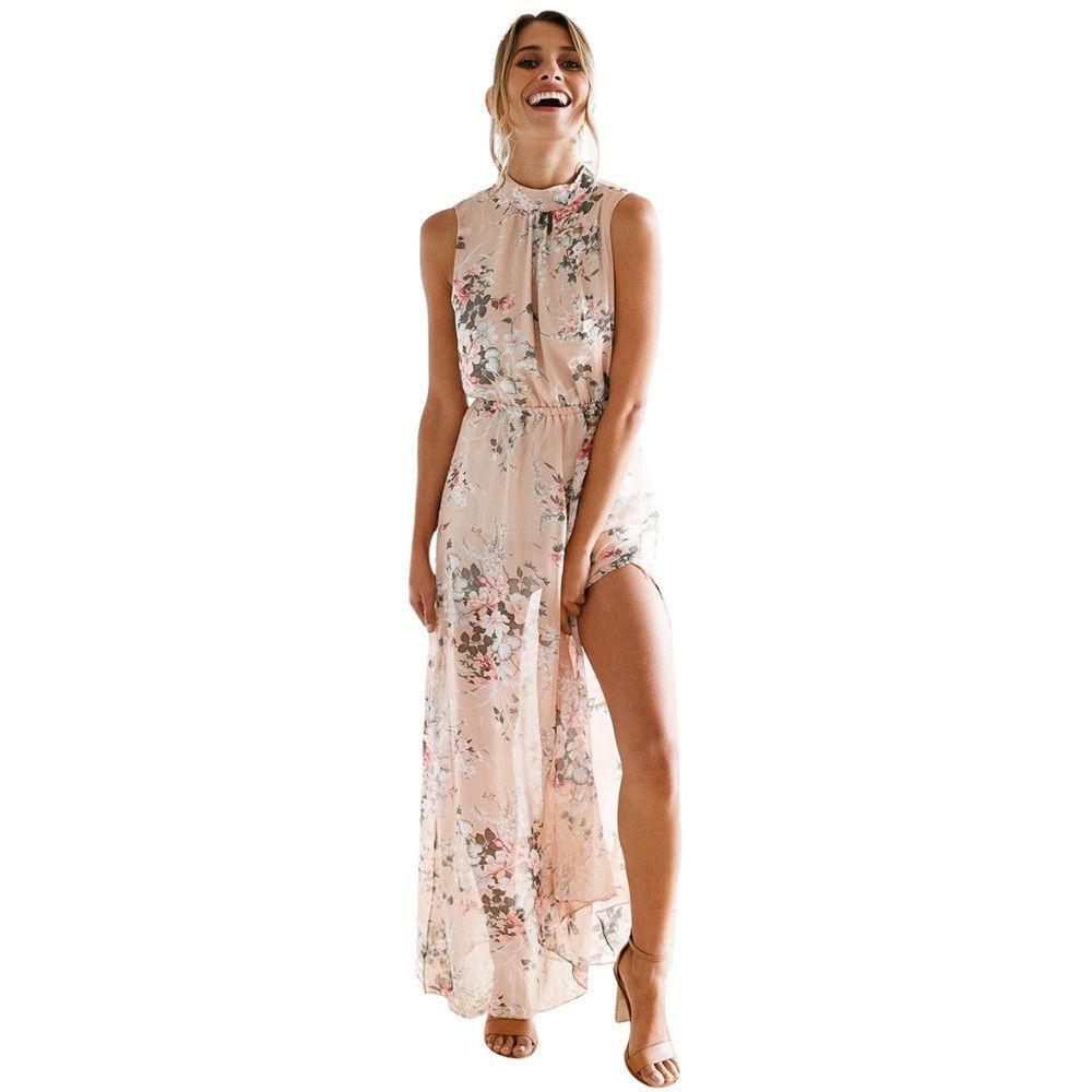 e6be08e91f Women Chiffon Dress Summer 2018 New Floral Print Sleeveless Backless Boho Long  Dress Split The Fork Beach Maxi Dresses  VE Night Dress Sun Dresses From ...