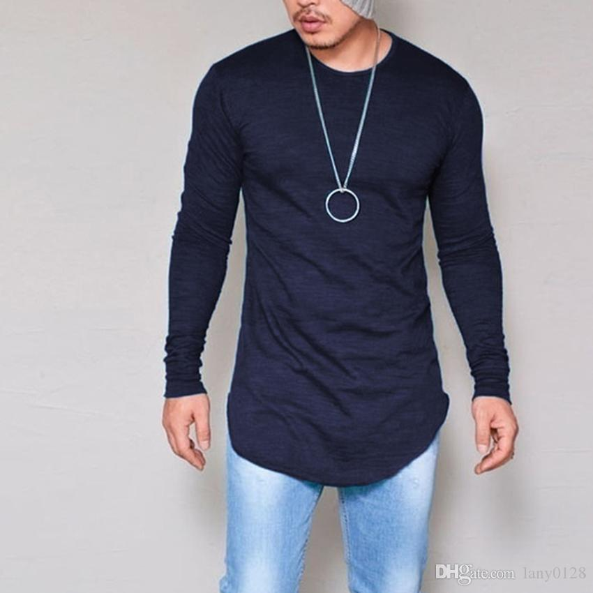 3b3ef9a9237 Plus Size S 4XL 5XL Men Fashion Casual Slim Elastic Soft Solid Long Sleeve  Men T Shirts Male Fit Tops Tee Longline T Shirt Awesome T Shirts Designs  Cool ...